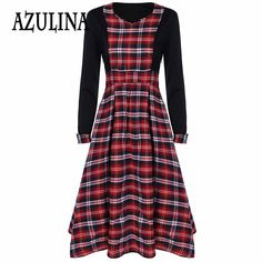 Find More Dresses Information about AZULINA 2017 Spring New Women Vintage Audrey Hepburn Tunic Robe Casual Clothing Vestido 50s Plaid Dresses High Waist Long Dress,High Quality dresse,China clothing select Suppliers, Cheap dress skirt from Azulina Store on Aliexpress.com