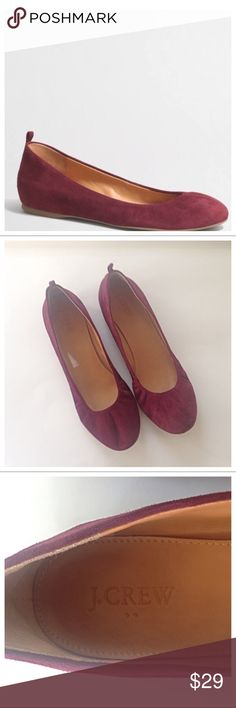 J Crew Anya Suede Ballet Flats Cabernet 8.5 Super comfortable Suede J Crew Anya ballet flats. Color is a beautiful maroon. A wardrobe staple. Worn only 2 times in very good preowned condition. No scuffs or stains. Size 8.5. J. Crew Shoes Flats & Loafers