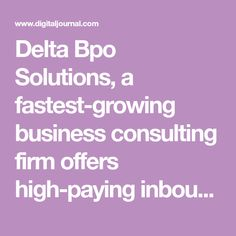 Delta Bpo Solutions, a fastest-growing business consulting firm offers high-paying inbound projects online in India. Company has distributed multiple bpo projects across various cities.Dec 6, 2019 - Delhi - Finding good inbound projects is very challenging for young entrepreneurs. Delta Bpo Solutions, a reputable business consulting firm helps such entrepreneurs find high-paying inbound projects and make money. Data Entry Projects, Growing Business, Consulting Firms, Young Entrepreneurs, Fast Growing, Cities, How To Make Money, India, City