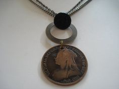 Vintage Queen Victoria 1895 One Penny Coin Necklace by joyceshafer, $21.95