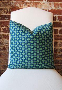 Fabric - Schumacher -  Betwixt - Peacock/Seaglass -  18 in square - Designer Pillow - Decorative Pillow - Throw Pillow. $79.00, via Etsy.