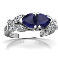 14K White Gold Sapphire and Diamond Ring, with Hearts and Butterflies $599