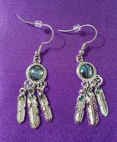 Dreamcatcher Earring Jewelry Silver Gypsy Earrings Hippy Bohemian Dangle Abalone