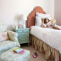 Girly Big Girl Room, turquoise painted side table, coral tufted headboard, little princess