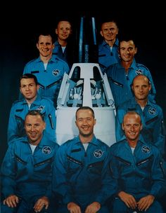 """The ""New Nine,"" the first new group of astronauts chosen by NASA after the original ""Mercury Seven"":  Neil Armstrong, Frank Borman, John Young, Thomas P. Stafford, Charles Conrad Jr., James A. McDivitt, James Lovell, Elliot See and Edward H. White II"
