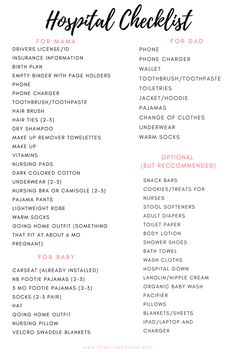 Free Printable Ultimate Hospital Checklist | labor and delivery | what to bring to the hospital | hospital bag | The Crispy Mama