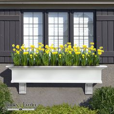 Looking for long vinyl window boxes but not sure which size you need? Look to Hooks and Lattice's Provincial Vinyl Window Box in length. The Provincial is a window box kit that is easy to assemble in less than 15 minutes, and customization is easy Outdoor Spaces, Outdoor Living, Outdoor Decor, Window Box Flowers, Bulb Flowers, Window Planter Boxes, Wooden Window Boxes, Front Yard Landscaping, Landscaping Ideas