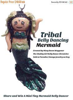 Tiny Tribal Belly Dancing Mermaid Kawaii by ParadiseVintageJewel