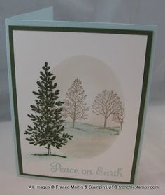 handmade greeting card from Stamp & Scrap with Frenchie ,,, sponged oval frame with Lovely as a Tree images ... misty look ... single tree in front with full inking ... lovely card ... Stampin' Up!