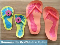 SavingSaidSimply.com - EASY Summer Kids Craft: Footprint Flip Flops