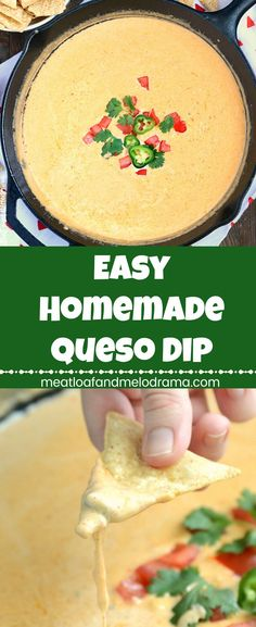 Easy Homemade Queso Dip - An easy chip dip appetizer perfect for game day, parties and holidays. Made with pepper jack and cheddar cheese (no Velveeta) and a few other ingredients. Keep it warm in your slow cooker/Crock-Pot for tailgating and entertaining! #partyfood #gamedayfood from Meatloaf and Melodrama