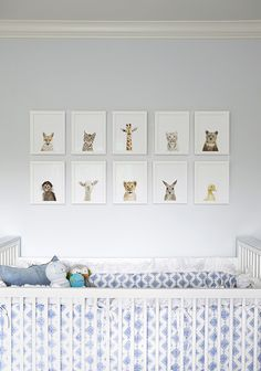 Really sweet, unique style of animal photos in this nursery.  The lack of color, other than natural, in the photos against the very blue bedding is a nice contrast.  These prints come from The Animal Print Shop.