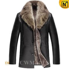CWMALLS® Lincoln Black Shearling Leather Jacket CW858039 - Black shearling leather jacket for men, finished with smooth sheepskin leather shell and cozy shearling fur lining, with luxurious raccoon fur collar, button closure and side pockets, all these make this fur leather jacket perfect for chilly weather. CWMALLS® can also customize it for you if you request.