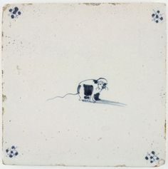 Antique Dutch Delft tile with a cat in blue, 17th century