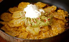 Beef Nachos a la Julie Goodwin. Making this for late lunch right now.