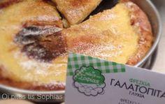Milk Pie (Galatopita) from Oi pites tis Sophias  http://www.chowzter.com/fast-feasts/europe/Athens/review/Oi-pites-tis-Sophias/Milk-Pie-Galatopita/6063_6146