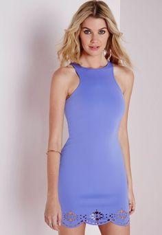 Laser Cut Scallop Hem Bodycon Dress Dusky Blue - Dresses - Bodycon Dresses - Missguided