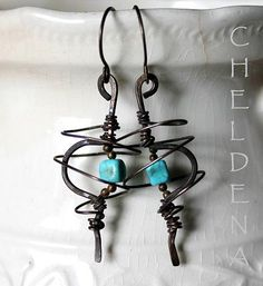 SALE Spiral Industrial AbStRaCt Turquoise Earrings by cheldena