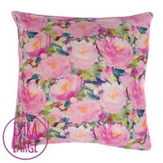 Giant Cait Floor Cushion bean bag by Fi Douglas of bluebellgray - a Scottish textile design company. Watercolour pink waterlily flowers inspired by Monet's Garden. Printed Cushions, Cushions, Bluebellgray, Cushion Design, Floral Cushions, Objects Design, Throw Cushions, Luxury Flooring, Floor Cushions