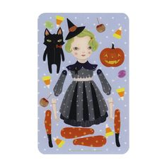 NEW Sour Apple Souffle - articulated witch paper doll set with 8 silver brads and instructions. $12.00, via Etsy.