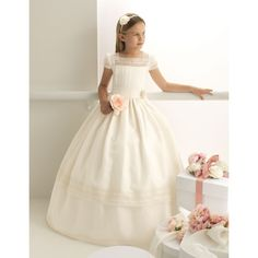Lovely Ball Gown Short Sleeves Floor Length Communion Dress S6035 - No - Ball Gown - No