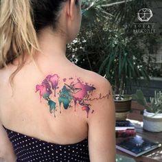 World Map Watercolor Tattoo by Koray Karagozler