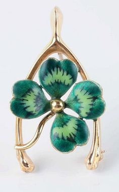 An Art Nouveau Gold, Enamel Shamrock and Wishbone Brooch, c. Art Nouveau Jewelry, Four Leaf Clover, Enamel Jewelry, Lucky Charm, Polymer Clay Earrings, Jewelry Collection, Vintage Jewelry, Gemstone Brooch, Gold