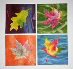 Many art teachers use this lesson as an introduction to watercolor. In case you don't have a pile of autumn leaves handy, we have included tree leaf patterns that you can print out. We've also added a variation to this lesson, so that you can make a colorful background for your favorite leaf.