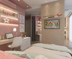 Quarto de Menina | Esse vocês já conhecem, mas não este outro lado do quarto! O layout deste ambiente foi uma ideia super bacana pois a paredinha que criamos para a Tv é estratégica com a função de separar sutilmente o espaço de closet do quarto, o painel ripado contorna os dois lados da parede e deixa tudo mais delicado. Amor por quartinhos infantis Room Design Bedroom, Girl Bedroom Designs, Bedroom Decor, Dream Rooms, Dream Bedroom, Secret Rooms, Home Office Decor, Home Decor, Cool Rooms