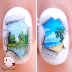Where do you wanna go on holiday? Just step through the window and you're there! These are freehand with acrylic paint and I recorded a video of it so you can see how I did it :)