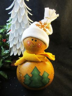 Winter Holiday Primitive Snowman Gourd by KaoriKreations on Etsy, $24.00