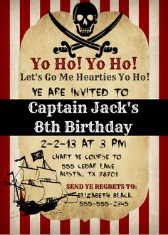 Printable Pirate Invitation.
