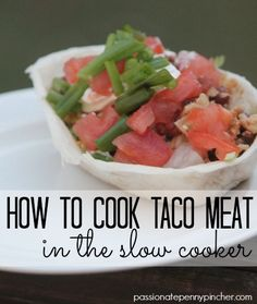 How To Cook Taco Meat In The Slow Cooker {Perfect For Homemade Taco Bar Night}. Making taco meat in the slow cooker is SOOOO easy... and might just change the way you look at your crockpot!
