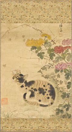 Title: Cat under Chrysanthemums Creator: Unknown Location: Korea Physical Dimensions: Image: 14 1/8 x 10 3/8 in. (35.88 x 26.35 cm); Mount: 45 1/2 x 15 7/8 in. (115.57 x 40.32 cm); Roller: 18 in. (45.72 cm) Medium: Hanging scroll, ink and color on paper