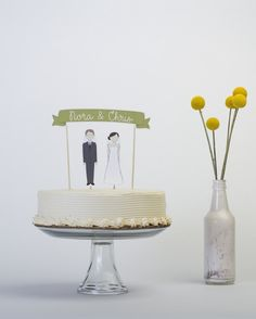 Wedding Cake Topper Set - Custom Cake Banner No. 3 / Bride and/or Groom Cake Toppers on Etsy, $35.68 AUD