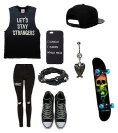 """""""Untitled #105"""" by darksoul7 ❤ liked on Polyvore featuring Topshop, King Baby Studio, Converse and '47 Brand"""