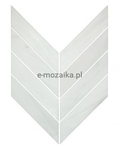 Mozaika Kamienna Chevron Jodełka Biały Marmur