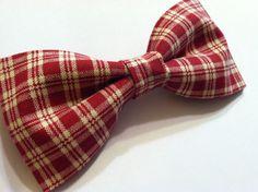 Burgundy plaid clip on bow tie // Wedding by chamomileblu on Etsy, $13.00