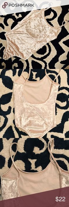 velvet crush cream beige bodysuit size small New in sealed packaging.  Non-name brand but still really cute with skirt or jeans. Runs true to size. Round neckline and low back. Straps aren't adjustable but bodysuit and straps have slight stretch and flexible fit.  Fits sizes 0-2.  Color- Beige, Dark Cream Tops Tank Tops