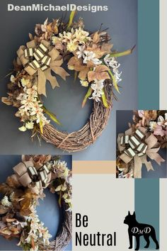 Grapevine wreath for fall decorating. Gorgeous mix of neutral colors to compliment any decor. Welcome FALL! Original by DeanMichaelDesigns. 18-19 inch oval grapevine. Interior design. Exterior design.  #homedecor #decorate #falldecor #wreath