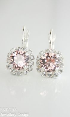 Blush pink crystal earrings | Pink morganite crystal earrings |  Blush pink wedding | Blush pink bridesmaid earrings | #EndoraJewellery