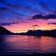 夕陽と漁港  fishing harbor &sunset