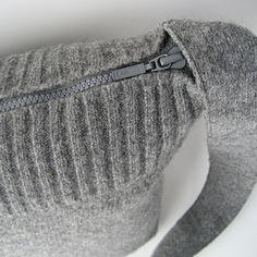 gray wool felted sweater messenger bag