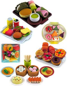 food erasers. collect the whole set.