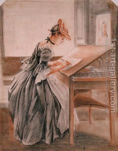 A Lady Copying at a Drawing Table, c.1760-70  By Paul Sandby (b. 1725/26, Nottingham, d. 1809, London)