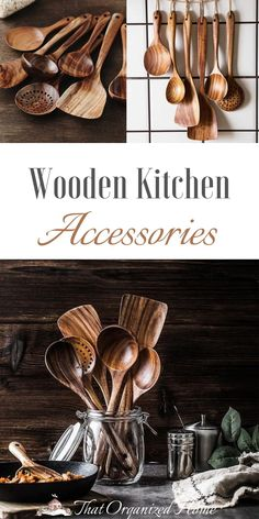 ALL YOU NEED IN ONE SET-An ideal Wooden Kitchen Utensil Set that features all the essential cooking tools including Wok Turner, Flat Spatula, Soup Ladle, Serving Spoons & Pasta Server,etc.Covers all your kitchen needs from stirring to cooking, and with hanging holes for wall storage easily.#utensils #woodenspoons #thatorganizedhome #cookingtools Cooking Utensils Set, Cooking Spoon, Cooking Tools, Kitchen Spatula, Kitchen Utensil Set, Wooden Kitchen, Diy Kitchen, Essential Kitchen Tools, Pallet Patio Furniture