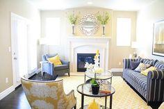 Gorgeous yellow  grey living room.