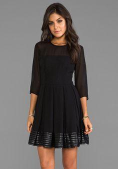 BB DAKOTA India Chiffon and Mesh Long Sleeve Dress in Black - Gift Guide: Family Dresses