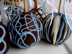 Party Favors  Candy Apples in BlueBrownWhite  by TheAtomicApple, $7.50