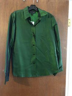 f9388ccfad1c09 Linda Allard Ellen Tracy Silk Shirt Emerald Size 10 Brand New With Tags   fashion